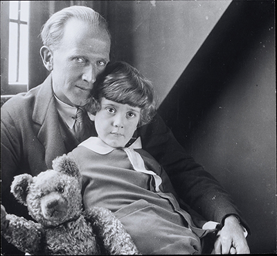 38041800912255 Photograph of A. A. Milne and Christopher Robin From: Correspondence and other material relating to the illustration and publication of 'Winnie the Pooh' and 'Now we are six', 1925-1926.