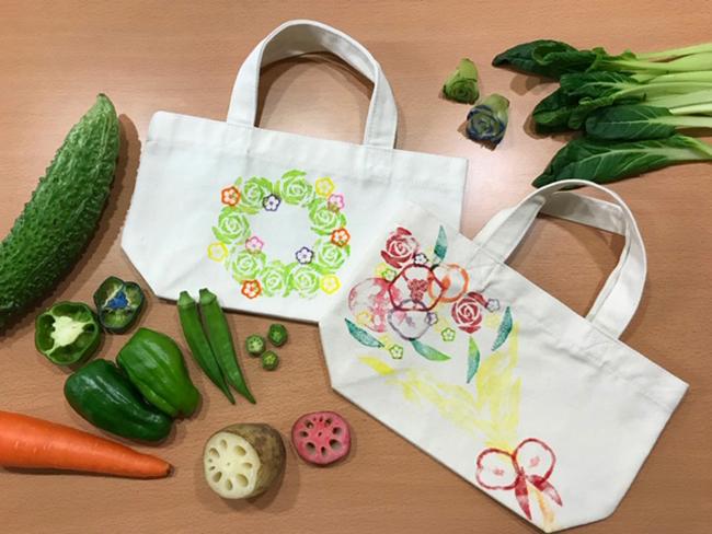 切れ端野菜でつくったスタンプトートバッグ(知って食べればもっと好きになる!JAやさい体験!イベントにて)