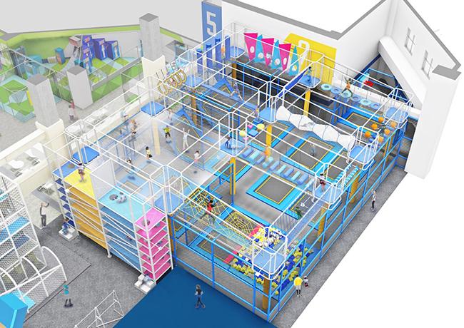 """バンダイナムコアミューズメントは都市型アスレチック施設『SPACE ATHLETIC """"TONDEMI YOKOSUKA""""(スペース アスレチック トンデミ ヨコスカ)』を2020年6月5日(金)、横須賀の『Coaska Bayside Stores(コースカ ベイサイド ストアーズ)』にオープン!トランポリン、エアーラン、クライミングウォールなどさまざまなアトラクションを子供から大人まで楽しめます。"""