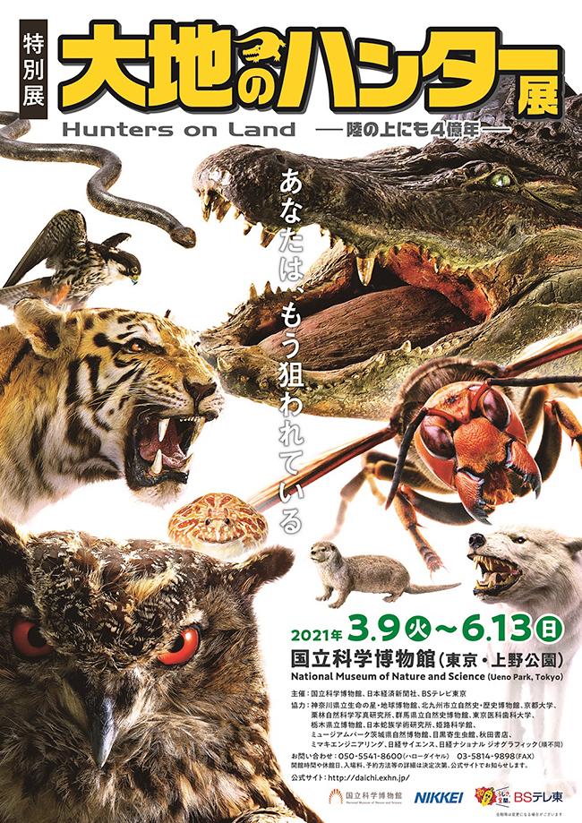 """動物が生きていくために必要な """"捕食"""" に注目し、陸に上がって4億年のうちに多様化したハンター(捕食者)の秘密を解き明かす特別展「大地のハンター展 ~陸の上にも4億年~」が大好評開催中。大好評を記念して特別展「大地のハンター展 ~陸の上にも4億年~」のご招待券をプレゼント!特別展「大地のハンター展 ~陸の上にも4億年~」は、2021年6月13日(日)まで国立科学博物館で開催!"""